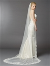 1 Layer Embroidered Cathedral Mantilla Wedding Veil with Dramatic Beaded Lace Edge<br>4422V-I-S