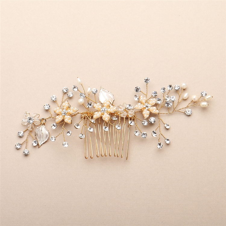Top Selling Bridal Hair Comb with Silvery Gold Leaves, Freshwater Pearl and Crystal Sprays<br>4425HC-I-G