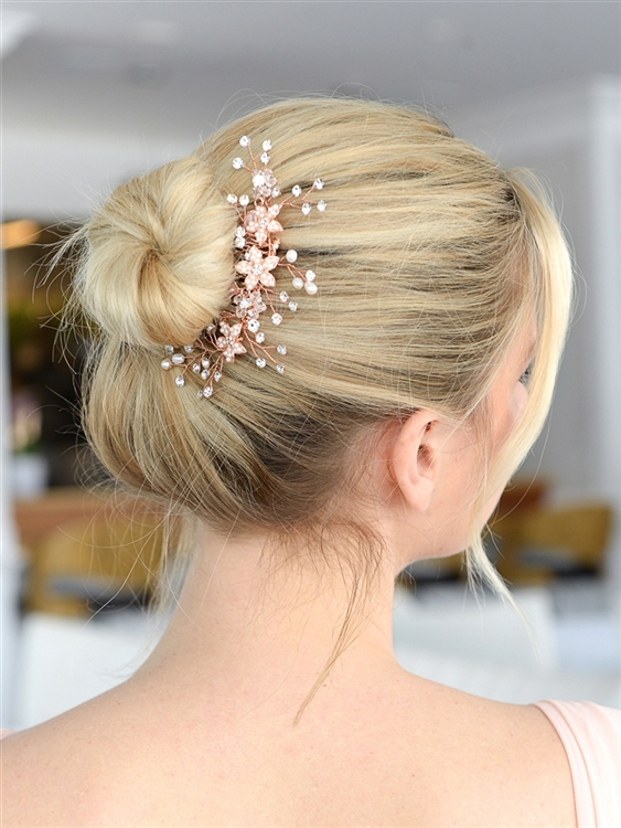 Top Selling Bridal Hair Comb with Silvery Rose Gold Leaves, Freshwater Pearl and Crystal Sprays<br>4425HC-I-RG