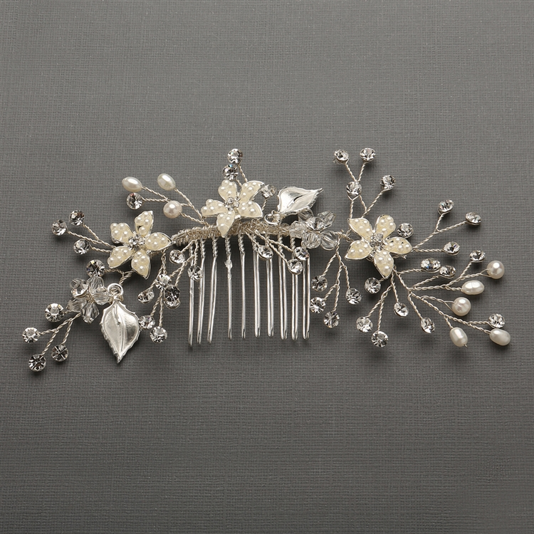 Best Selling Bridal Hair Comb with Hand Painted Leaves, Freshwater Pearls and Crystals Sprays<br>4425HC-I-S