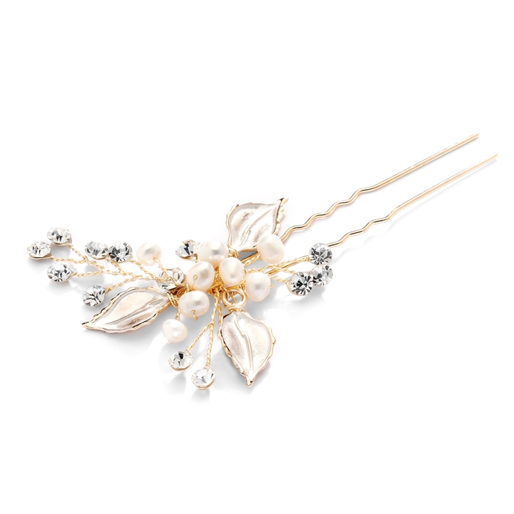 Top Selling Bridal Hair Pin with Silvery Gold Leaves, Freshwater Pearl and Crystal Sprays<br>4426HC-I-G