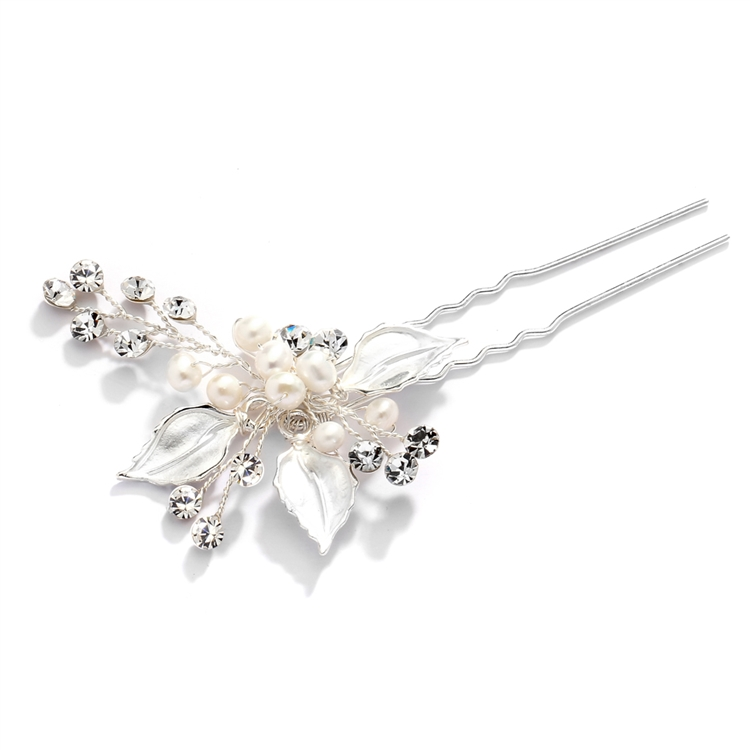 Best Selling Bridal Hair Pin with Hand-Painted Silver Leaves, Freshwater Pearl and Crystal Sprays<br>4426HC-I-S