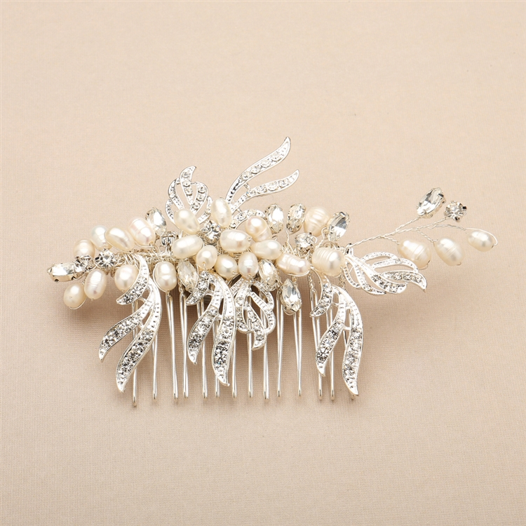 Freshwater Pearl and Crystal Bridal Hair Comb with Graceful Silver Leaves<br>4427HC-I-S