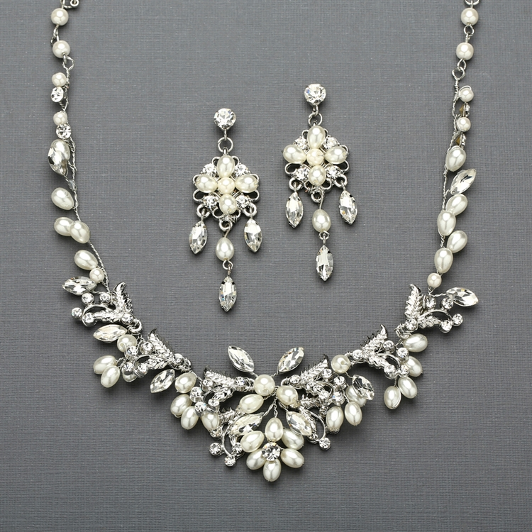 Silver Vine Bridal Necklace and Earrings Set with Freshwater Pearls<br>4429SC-S