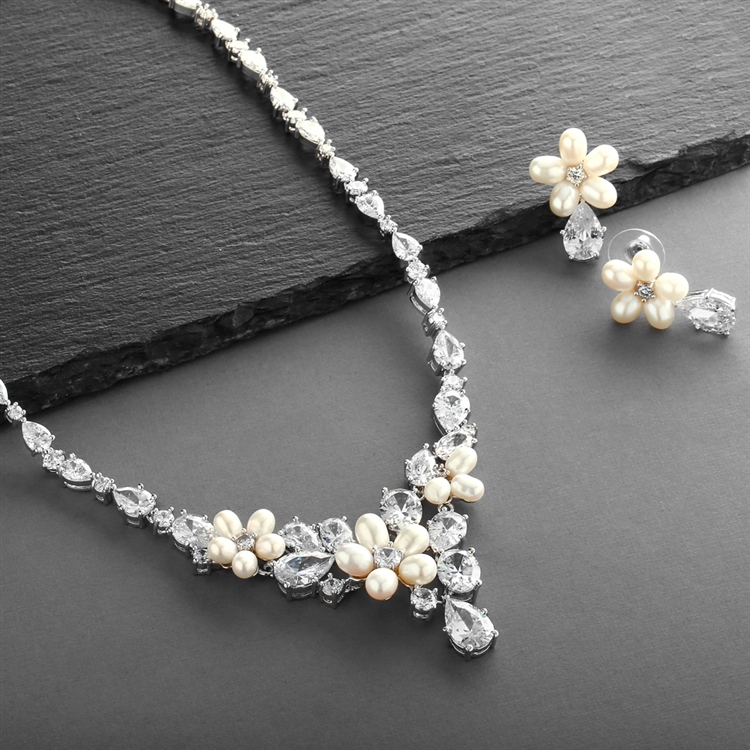 5ba593637 Ravishing Freshwater Pearl and CZ Statement Necklace and Earrings Set <br>4430S-I-S