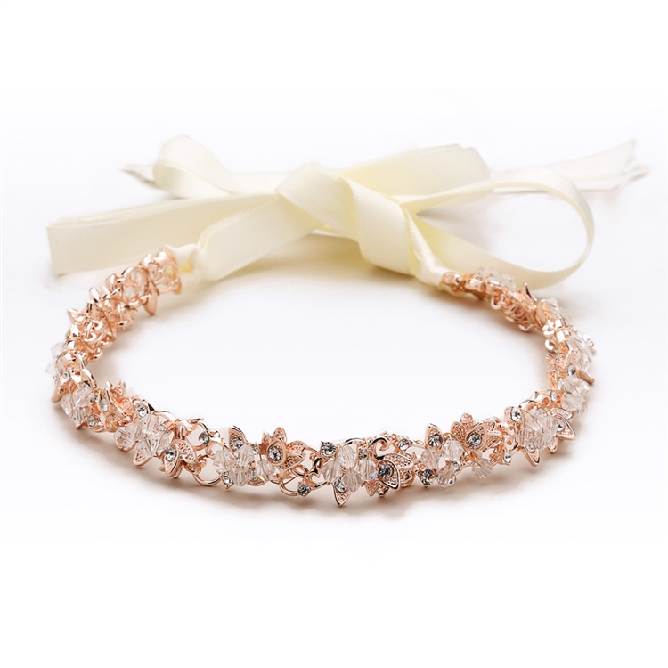 Slender Rose Gold Bridal Headband with Hand-wired Crystal Clusters and Ivory Ribbons<br>4431HB-I-RG