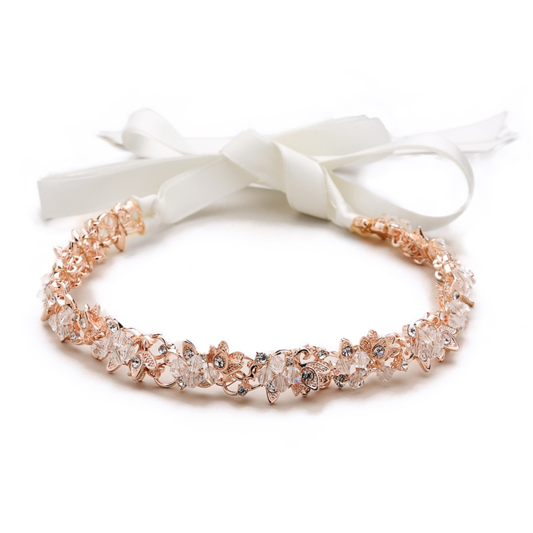 Slender Rose Gold Bridal Headband with Hand-wired Crystal Clusters ...