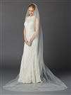 Cathedral Length One Layer Cut Edge Wedding Veil in Ivory<br>4433V-108-I