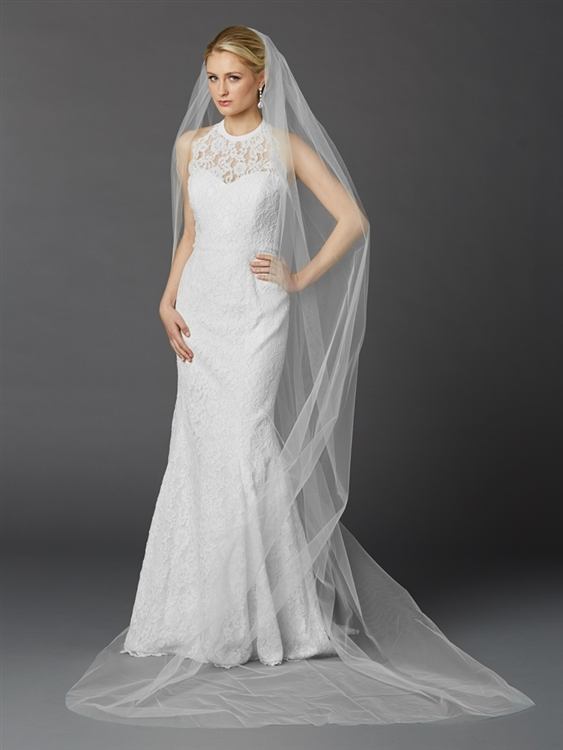 Cathedral Length Single Layer Cut Edge Bridal Veil in White<br>4433V-108-W