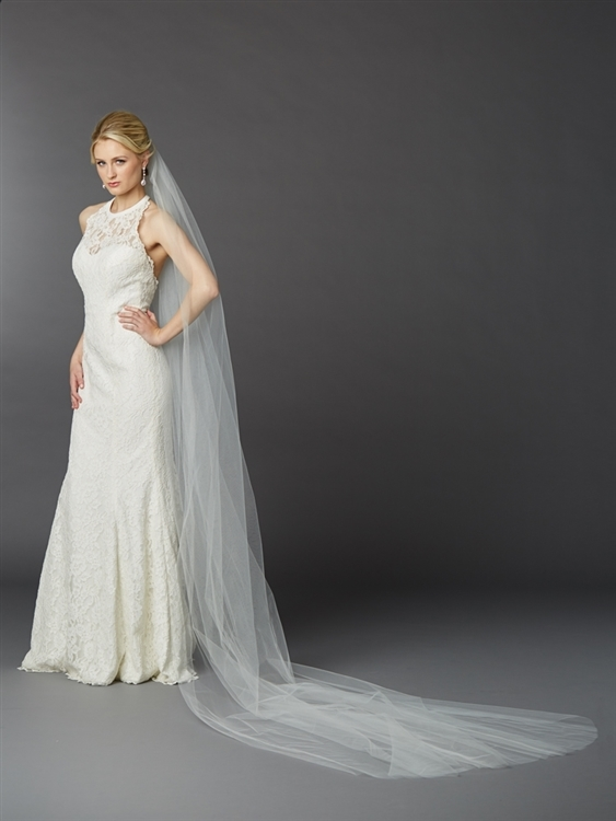 Royal Cathedral Length Single Layer Cut Edge Bridal Veil in Ivory<br>4433V-120-I