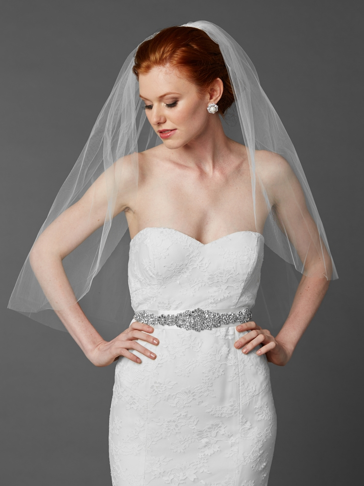Classic Elbow or Waist Length Single Layer Cut Edge Wedding Veil<br>4433V-30-W