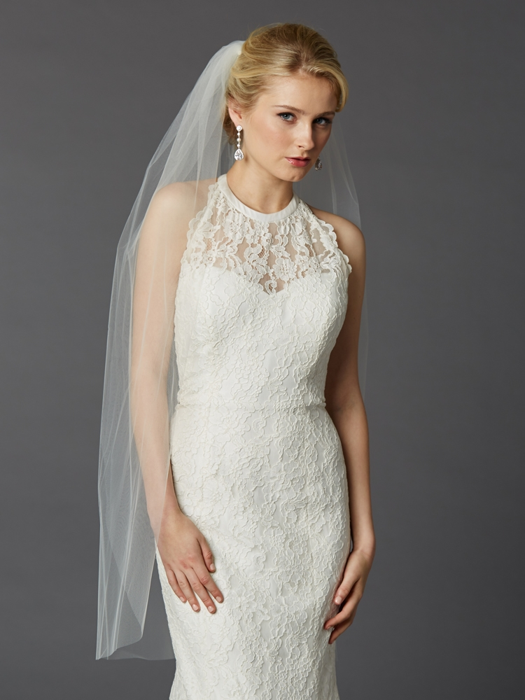 Long Fingertip or Hip Length Single Layer Cut Edge Wedding Veil in Ivory<br>4433V-42-I