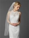 Long Fingertip or Hip Length Single Layer Cut Edge Bridal Veil in White<br>4433V-42-W