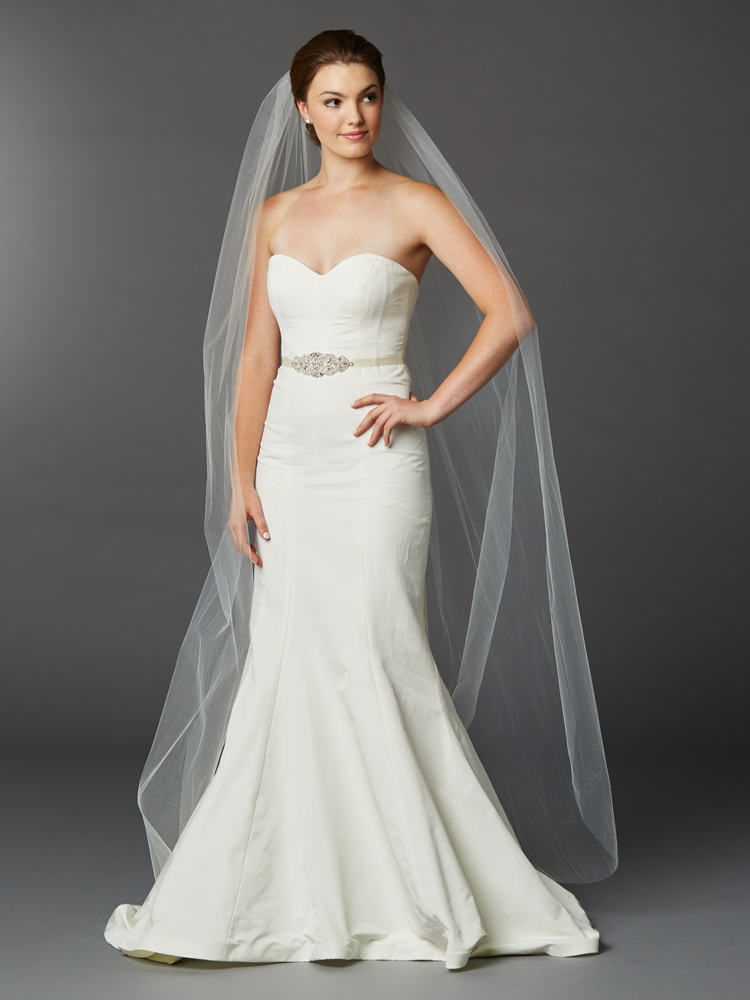 3f9fae8f06a9a Chapel or Floor Length One Layer Cut Edge Bridal Veil in Ivory br 4433V