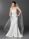 Chapel or Floor Length One Layer Cut Edge Bridal Veil in White<br>4433V-72-W