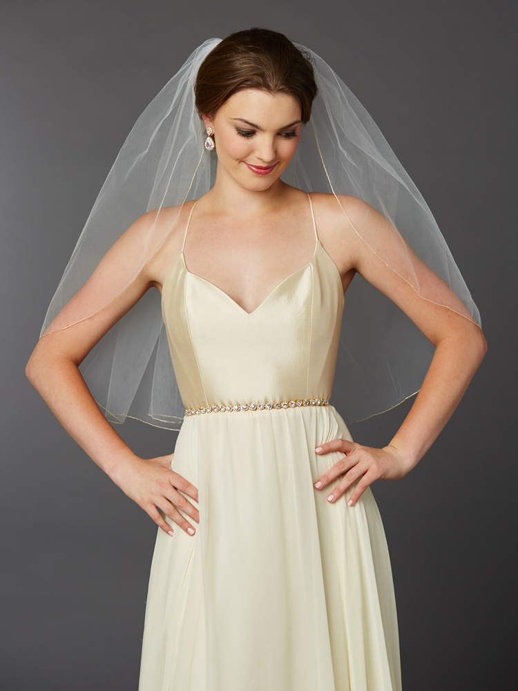 Gold Pencil Edge Classic Waist or Elbow Single Layer Wedding Veil <br>4434V-30-I-G