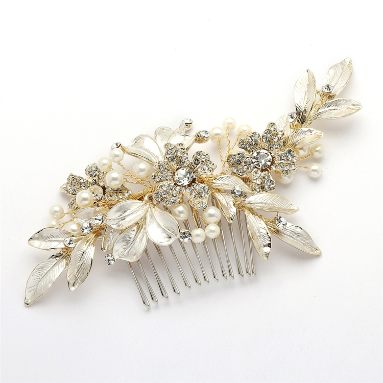 Designer Bridal Hair Comb with Hand Painted Gold Leaves and Pave Crystals<br>4437HC-I-LTG