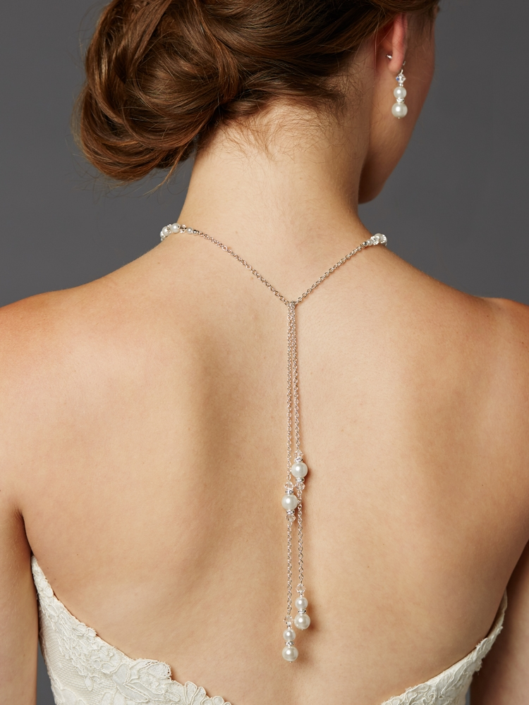 Adjustable Glass Pearl Back Necklace with Lariat Dangles - Handmade USA<br>4440N-W-CR-S