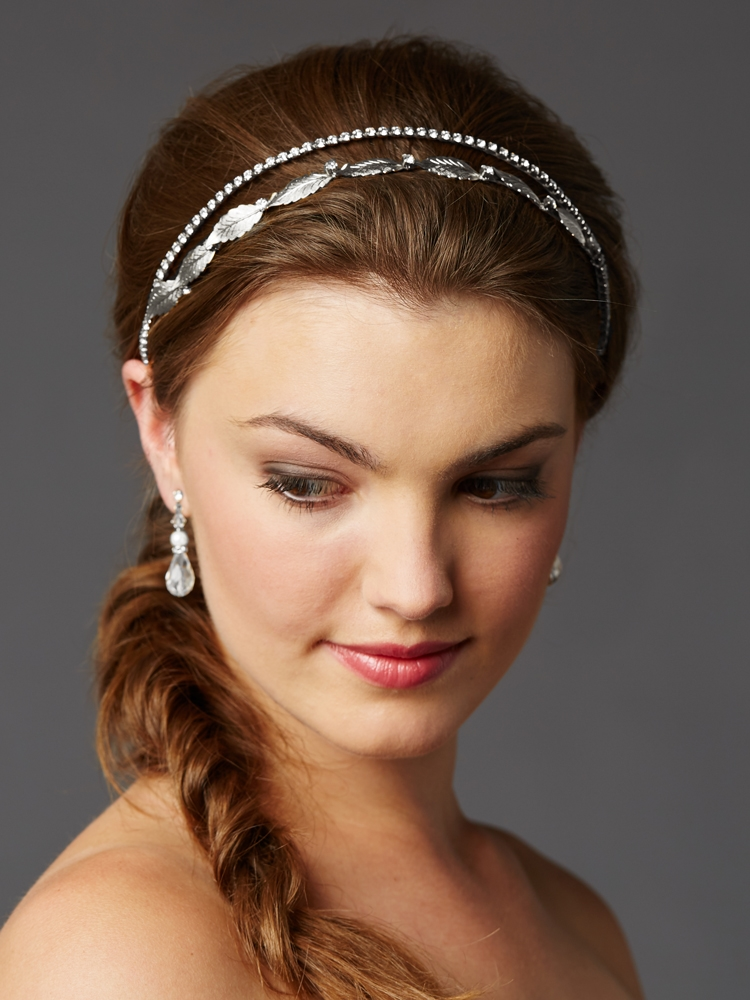 Hand-Made Garland of Leaves Split Bridal Headband Tiara<br>4444HB-S-I