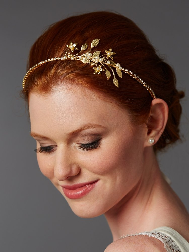Handmade Couture Gold Bridal Side Headband with Baby Pearl Floral Sprigs<br>4445HB-G-I