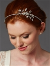 Hand-Made Designer Side Headband with Crystal Rhinestones & Baby Pearl Floral Sprigs <br>4445HB-S-I