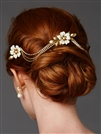 Triple Combs Enamel  Bridal Headpeice with Crystal Swags<br>4449HC-I-G