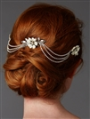 Triple Combs Enamel  Bridal Headpeice with Crystal Swags<br>4449HC-I-S