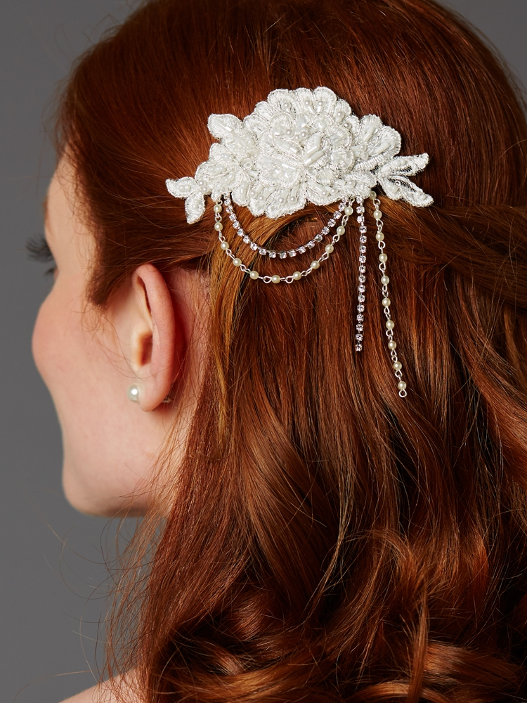 English Rose Lace Comb with Pearl and Crystal Draped Swags <br>4452HC-LTI