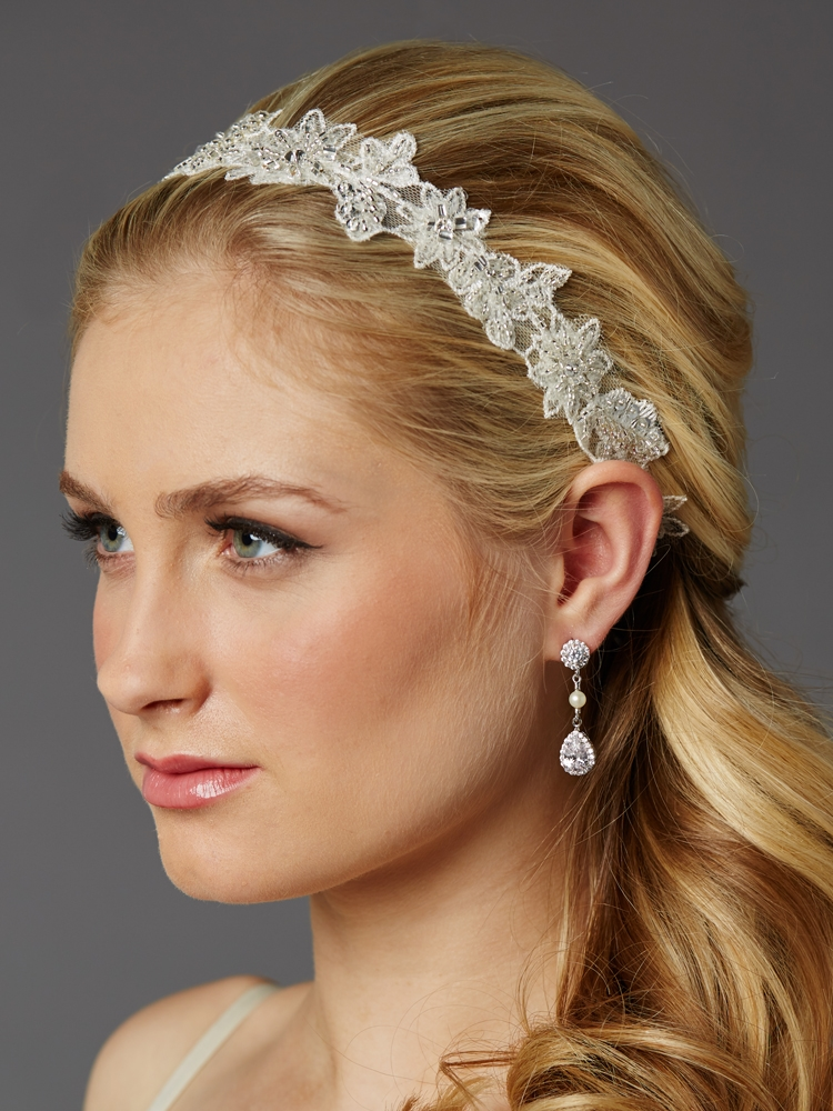 European Lace Floral Bridal Headband with Genuine Preciosa Crystals and Seeds<br>4454HB-I