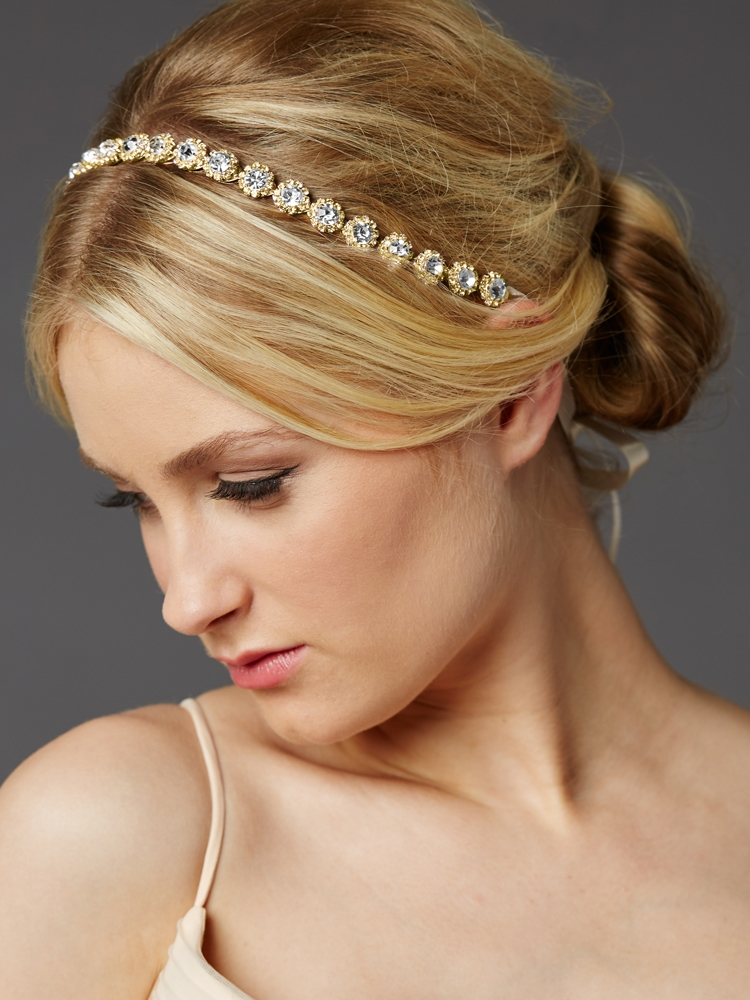 Gold Bridal Headband with Genuine Preciosa Crystals<br>4455HB-G-I