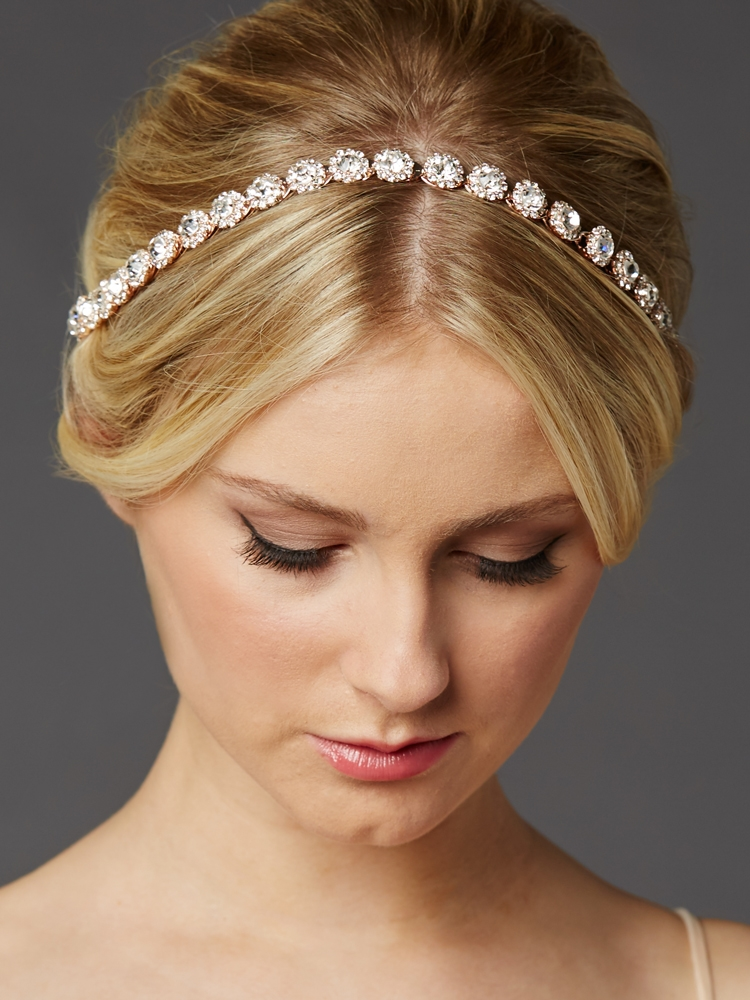 Rose Gold Bridal Headband with Genuine Preciosa Crystals<br>4455HB-RG-I