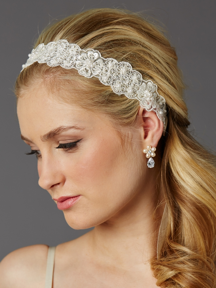 Fine European Lace Scalloped Bridal Heaband with Baby Pearls<br>4456HB-LTI