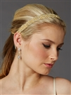 Braided Bridal Headband with Golden Seed Beads and Crystal Rhinestones<br>4458HB-G