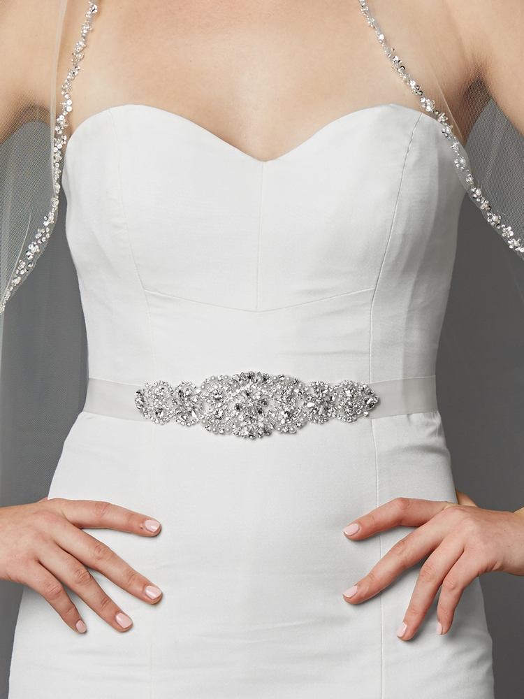 Luxurious Crystal and Pearl Applique Bridal Belts or Sash <br>4461SH-W-S