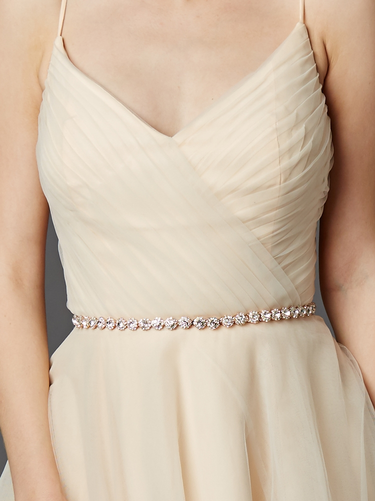 Rose Gold Bridal Belt with Genuine Preciosa Crystals with Ivory Ribbons<br>4464BT-RG-IV
