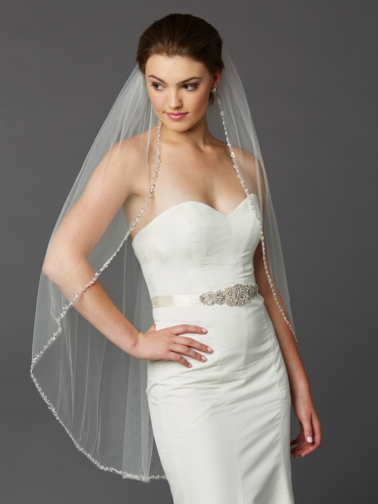 Glistening Silver Beaded Edge Long Fingertip Wedding Veil<br>4466V-I