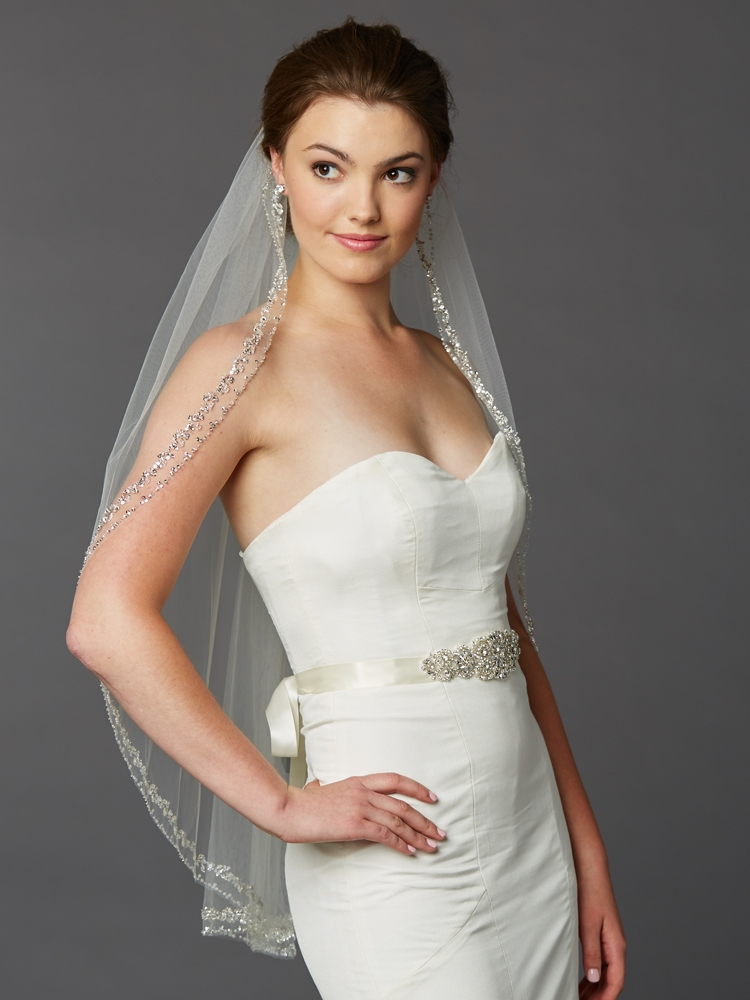 Glamorous Beaded Swarovski Crystal Fingertip Wedding Veil<br>4467V-I