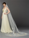 Silver and Gold Embroidered Floral Lace Cathedral Veil<br>4468V-I-G-S