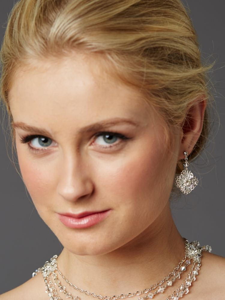 Top Selling Bridal Earrings with Crystal Filigree Dangles<br>4470E-CR-S