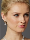 Glass Pearl and Crystal Bridal Dangle Earrings<br>4472E-W-S