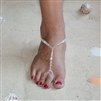 Crystal and Glass Pearl Foot Jewelry Barefoot Sandals with Beaded Anklet<br>4474FT-W