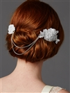 Double English Rose White Lace Combs with Draping Crystal Swags<br>4477HC-W