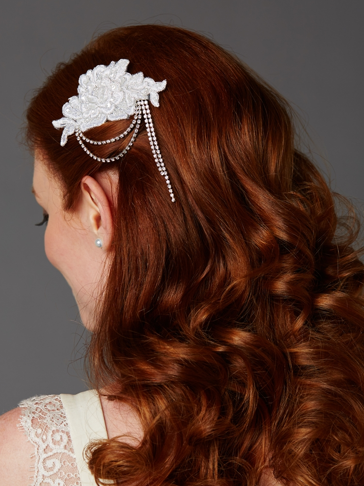 White English Rose Lace Comb with Crystal Draped Swags <br>4478HC-W