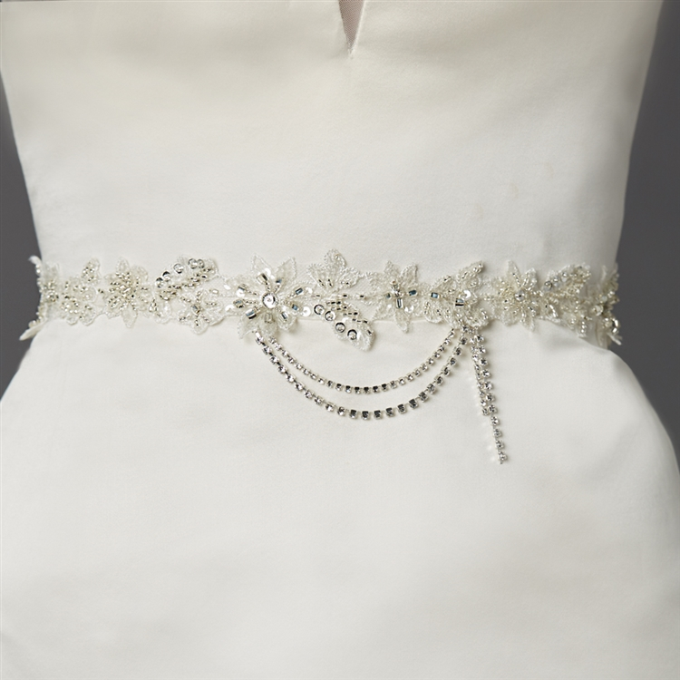 Floral Bridal Sash with Beaded European Wedding Lace<br>4479SH-I-S