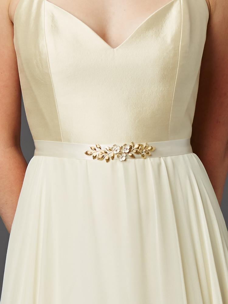 1d2d9f169b0a Hand Enameled Tea Rose Designer Bridal Sash Belt in Ivory Gold<br>4482BT-