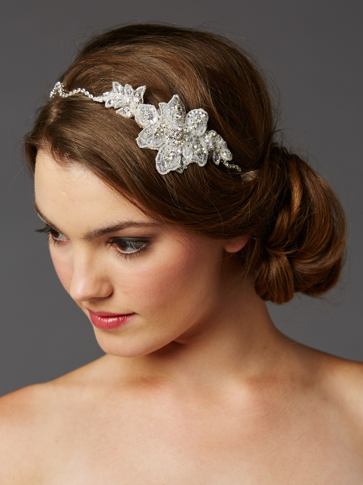 Genuine Preciosa Crystal Hand Wired Wavy Headband with Fine European Lace<br>4483HB-LTI-S