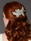 Sculptured European Ivory Lace Bridal Comb with Crystals and Sequins<br>4484HC-LTI