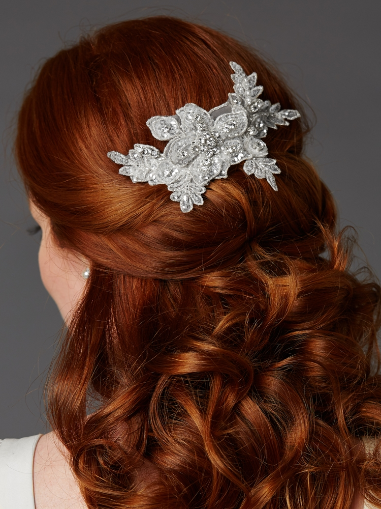 Sculptured European White Lace Bridal Comb with Crystals and Sequins<br>4484HC-W