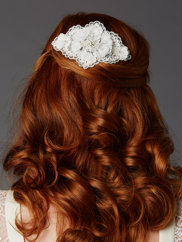 Ivory Crystal Lace Bridal Comb with Delicate Crepe Petals<br>4485HC-I