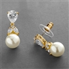 Top-Selling Gold CZ Bridal Earrings with Pears and Pearl Drops <br>4490E-I-G